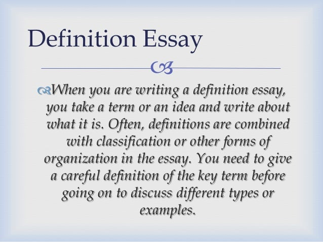 Examples on writing a definition essay