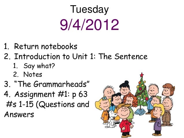 "Tuesday                 9/4/20121. Return notebooks2. Introduction to Unit 1: The Sentence  1. Say what?  2. Notes3. ""The ..."