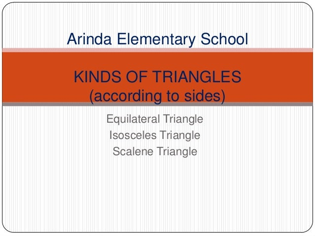Equilateral Triangle Isosceles Triangle Scalene Triangle Arinda Elementary School KINDS OF TRIANGLES (according to sides)