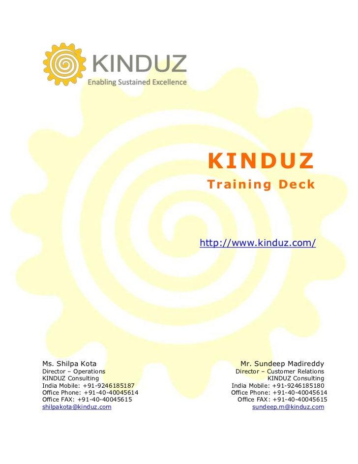 KINDUZ                                 Training Deck                                http://www.kinduz.com/Ms. Shilpa Kota ...