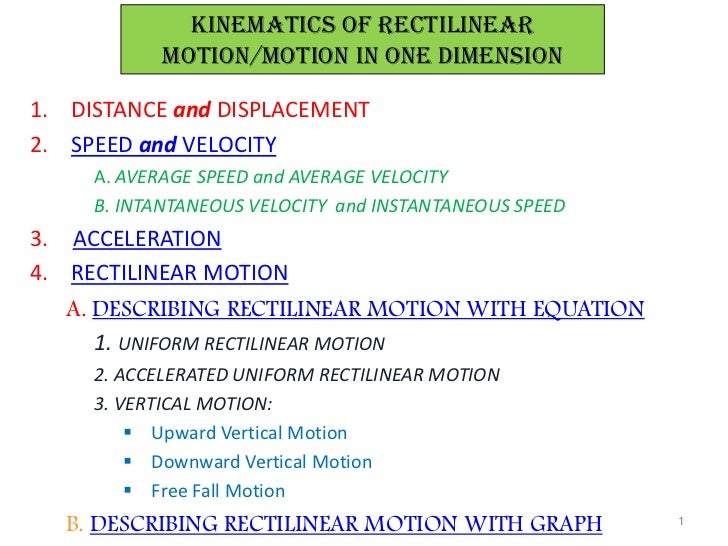 KINEMATICs OF RECTILINEAR           MOTION/motion in one dimension1. DISTANCE and DISPLACEMENT2. SPEED and VELOCITY     A....