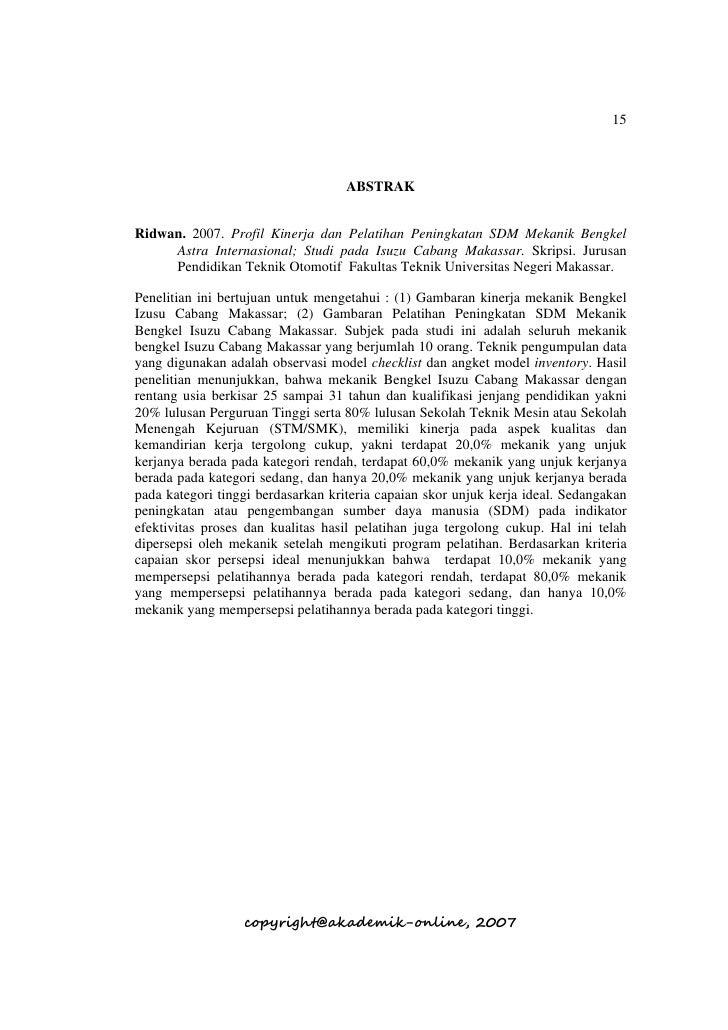15                                        ABSTRAK   Ridwan. 2007. Profil Kinerja dan Pelatihan Peningkatan SDM Mekanik Ben...