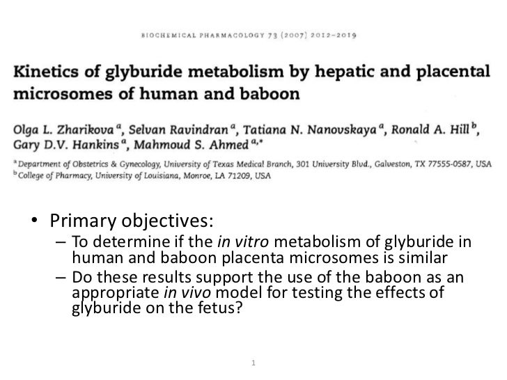 Kinetics of glyburide metabolism by humans and baboons using liver and placental tissues