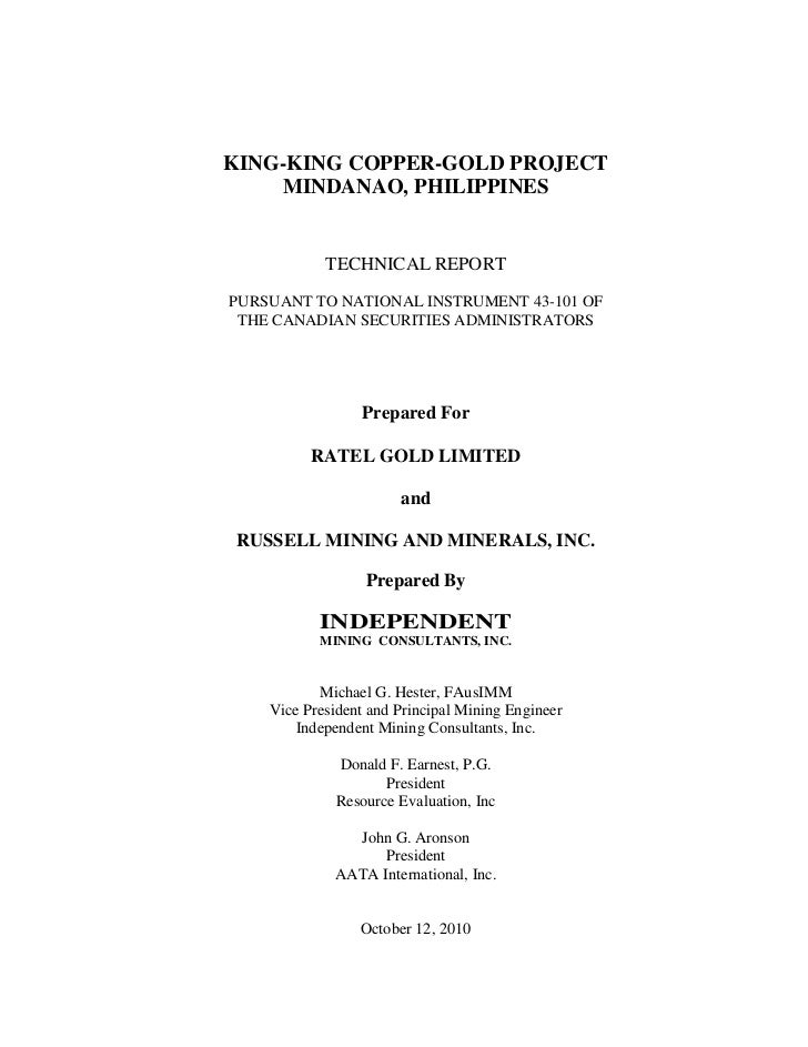 KING-KING COPPER-GOLD PROJECT    MINDANAO, PHILIPPINES            TECHNICAL REPORTPURSUANT TO NATIONAL INSTRUMENT 43-101 O...