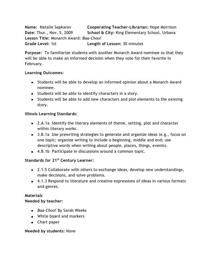 Name:  Natalie SapkarovCooperating Teacher-Librarian: Hope MorrisonDate: Thur., Nov. 5, 2009School & City: King Elementary...