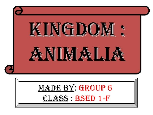 KINGDOM :ANIMALIAMADE BY: GrOup 6 CLASS : BSED 1-F