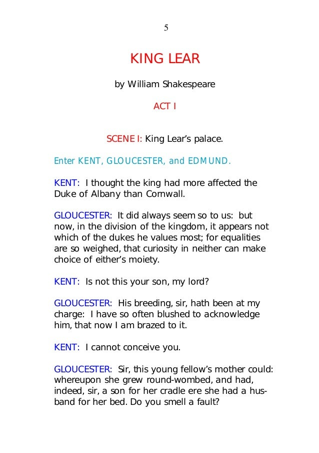 an analysis of acts 4 and 5 of the play king lear by william shakespeare The introduction of a sub-plot in shakespeare's play king lear and its dramatic effect jamal  king lear, main plot, william shakespeare, structure, sub- plot,.