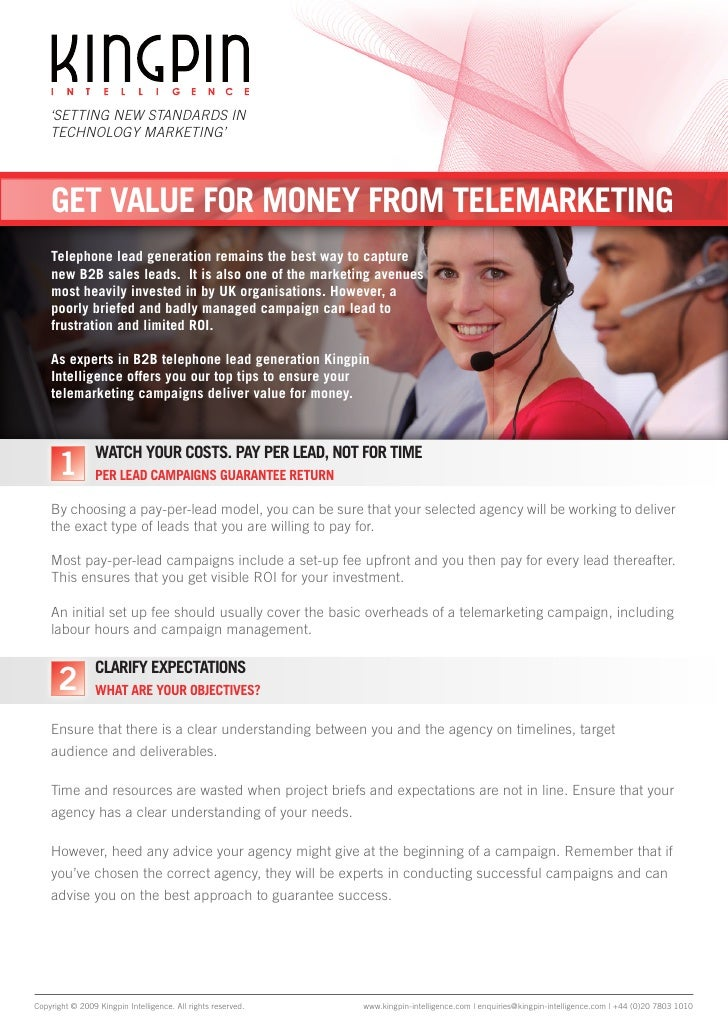 'SETTING NEW STANDARDS IN     TECHNOLOGY MARKETING'         get value for money from telemarKeting     telephone lead gene...