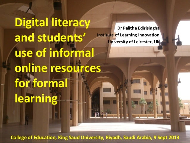 Dr Palitha Edirisingha Institute of Learning Innovation University of Leicester, UK Based of a research project funded by ...