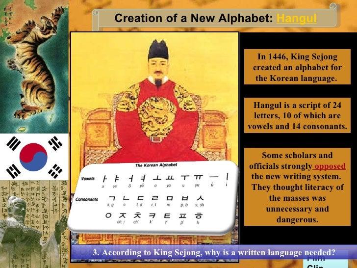 King Sejong Hangul King Sejong Created an