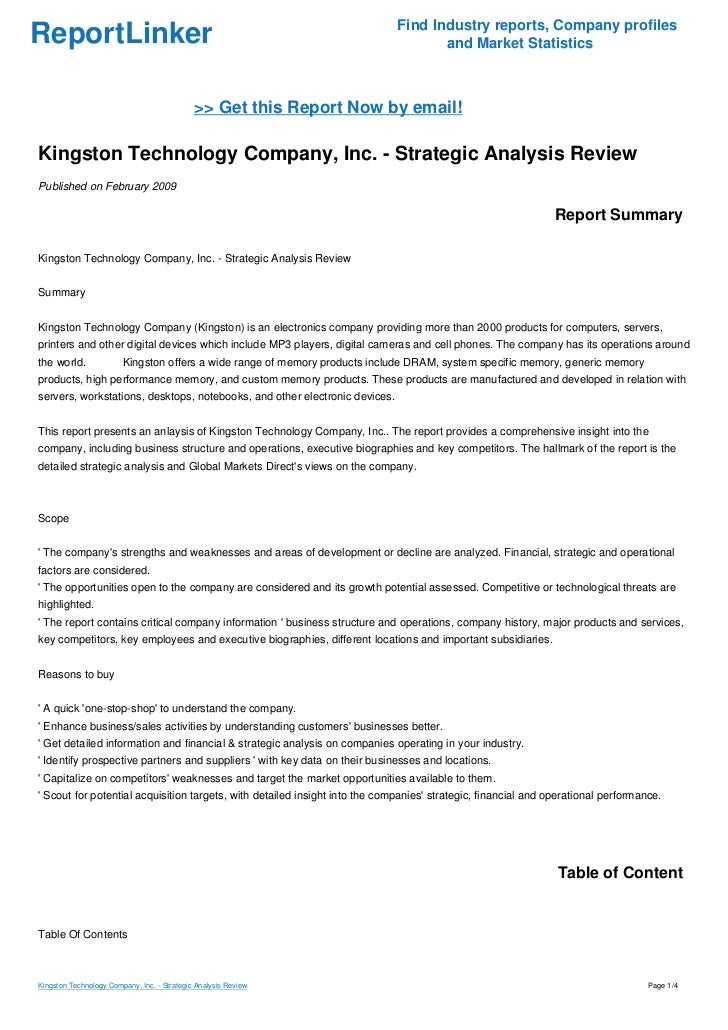 Kingston Technology Company, Inc. - Strategic Analysis Review