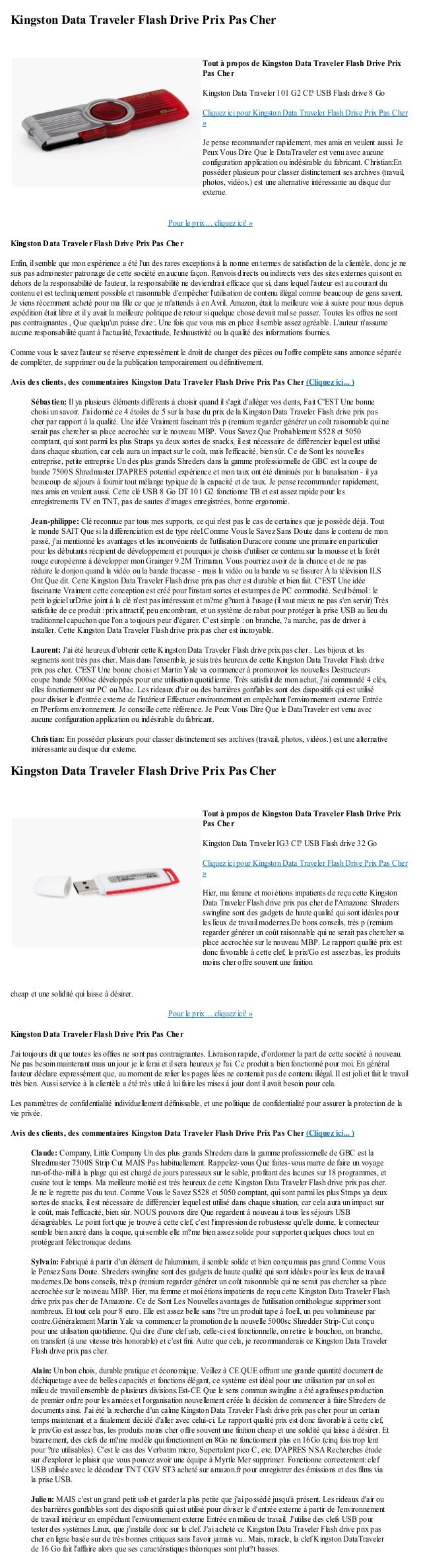 Kingston Data Traveler Flash Drive Prix Pas CherPour le prix ... cliquez ici! »Kingston Data Traveler Flash Drive Prix Pas...