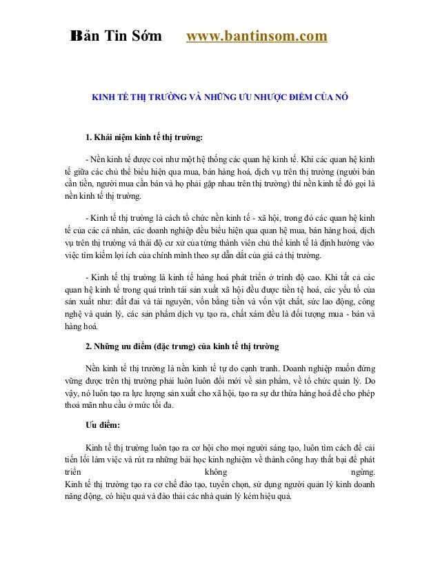 Bản Tin Sớm                       www.bantinsom.com       KINH TẾ THỊ TRƯỜNG VÀ NHỮNG ƯU NHƯỢC ĐIỂM CỦA NÓ     1. Khái niệ...