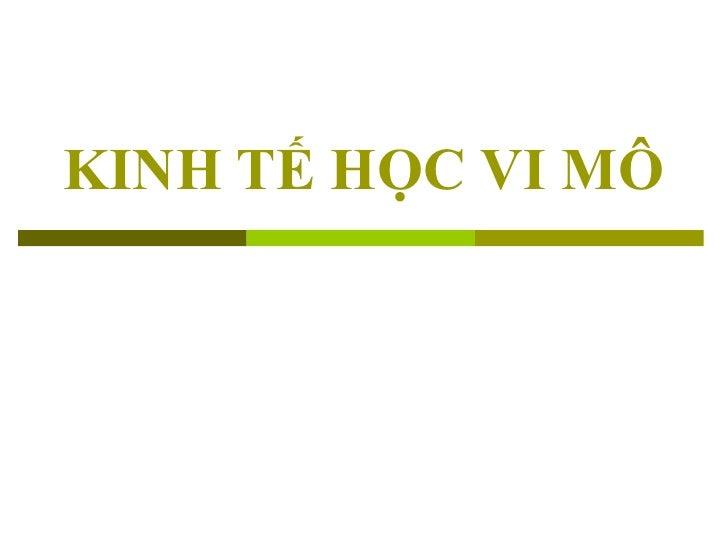 KINH TẾ HỌC VI MÔ
