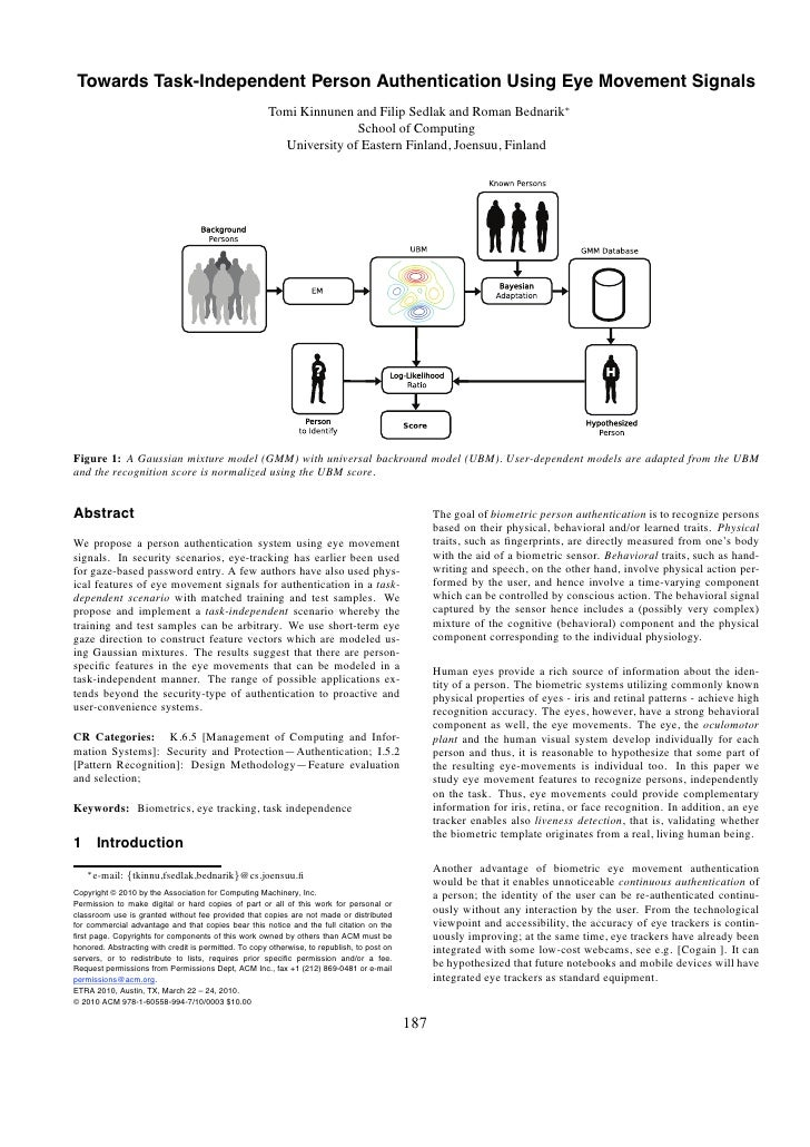 Kinnunen Towards Task Independent Person Authentication Using Eye Movement Signals