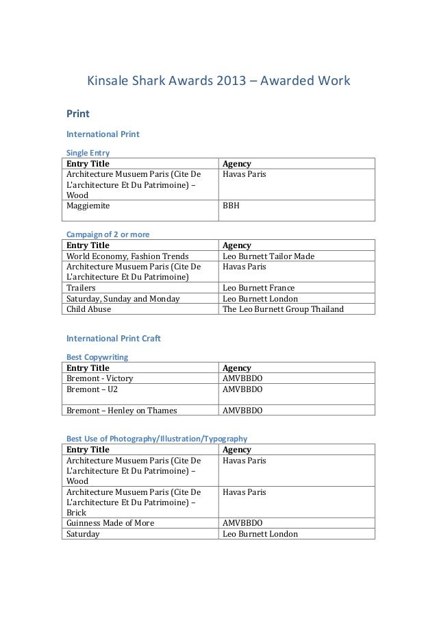Kinsale  Shark  Awards  2013  –  Awarded  Work   Print   International  Print   Single  Entry    ...