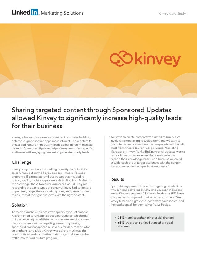 Kinvey significantly increases high-quality leads with Sponsored Updates
