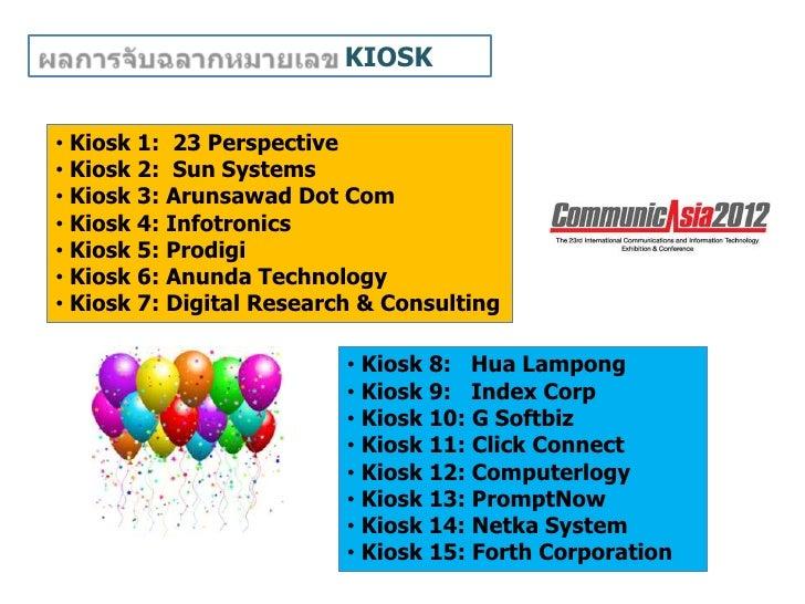 KIOSK• Kiosk 1: 23 Perspective• Kiosk 2: Sun Systems• Kiosk 3: Arunsawad Dot Com• Kiosk 4: Infotronics• Kiosk 5: Prodigi• ...