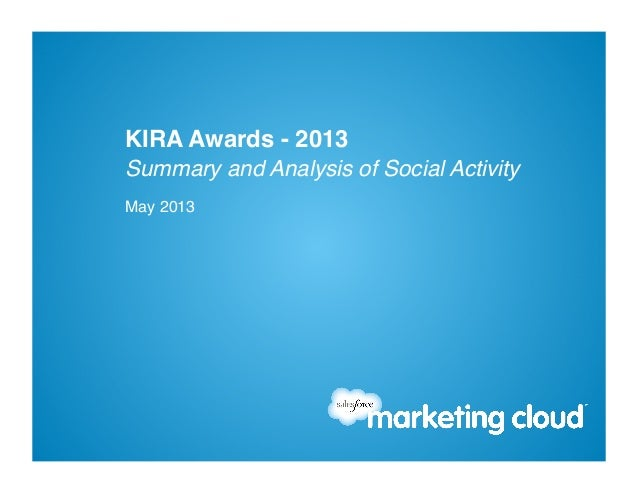 Summary and Analysis of Social Activity!May 2013!KIRA Awards - 2013!