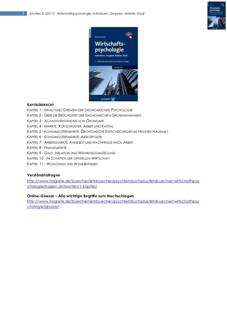 Kirchler (2011) Wirtschaftspsychologie. Individuen, Gruppen, Märkte, Staat - Zusammenfassung