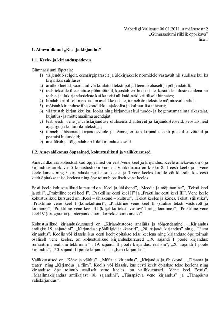 """Vabariigi Valitsuse 06.01.2011. a määruse nr 2                                                                     """"Gümnaa..."""