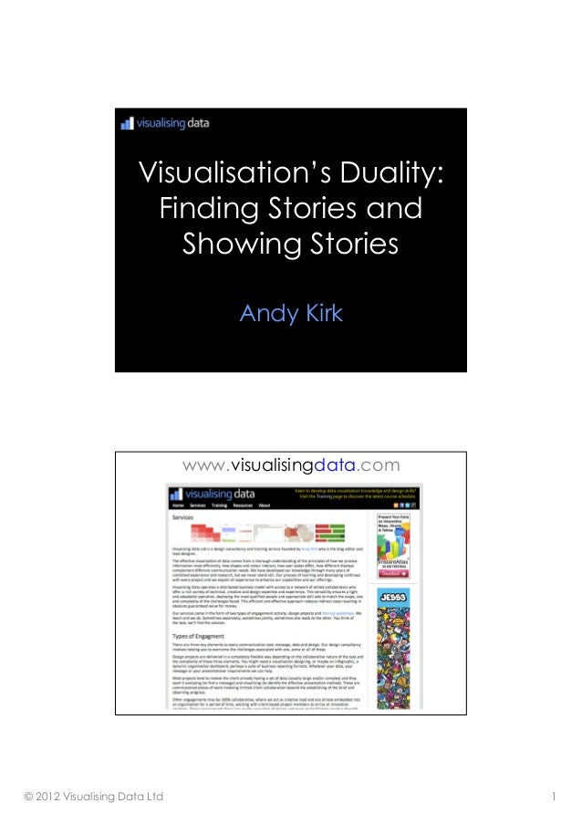 © 2012 Visualising Data Ltd 1 Visualisation's Duality: Finding Stories and Showing Stories Andy Kirk www.visualisingdata.c...