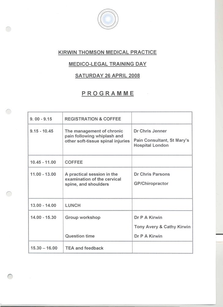 Kirwin Thomas Medico Legal training day