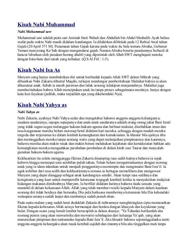 Kisah Nabi MuhammadNabi Muhammad sawMuhammad saw adalah putra sari Aminah binti Wahab dan Abdullah bin Abdul Muthalib. Aya...