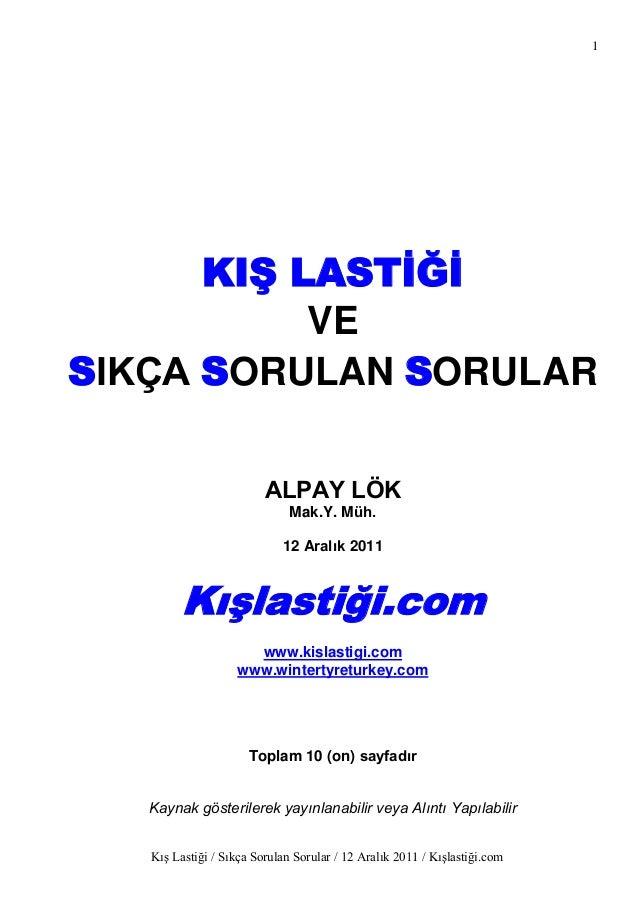 1      KIġ LASTĠĞĠ           VESIKÇA SORULAN SORULAR                         ALPAY LÖK                              Mak.Y....
