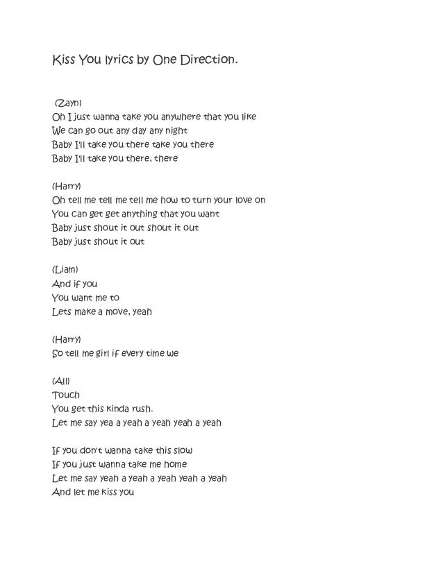 Kiss you lyrics by one direction