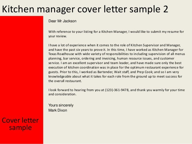 Kitchen manager cover letter MFcuBHlU