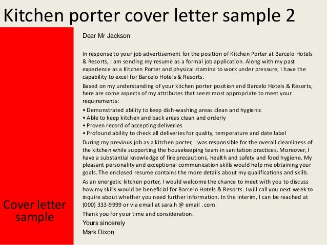 kitchen porter cover letteryours sincerely    kitchen porter cover letter sample  dear mr