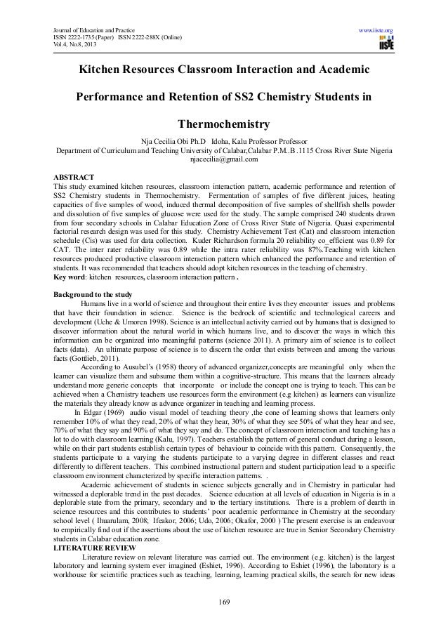 Journal of Education and Practice www.iiste.orgISSN 2222-1735 (Paper) ISSN 2222-288X (Online)Vol.4, No.8, 2013169Kitchen R...