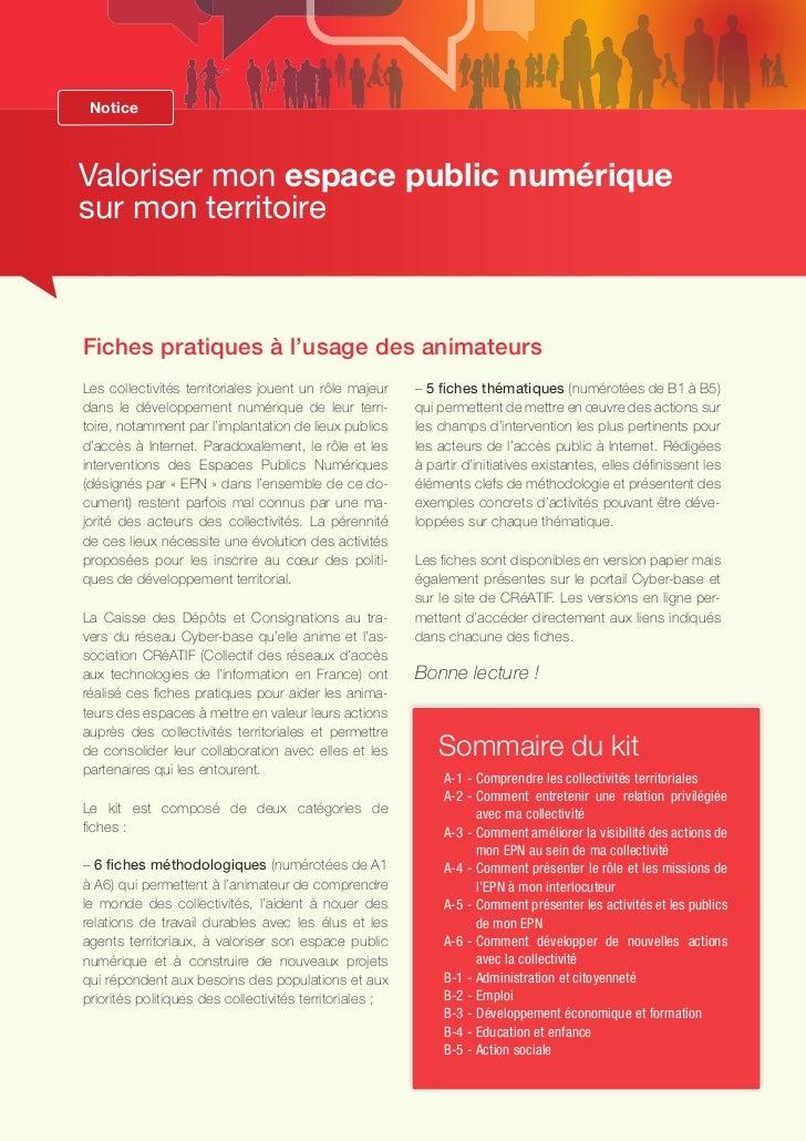 Valoriser mon espace public numérique sur mon  territoire - Kit de fiches pratiques (2008)