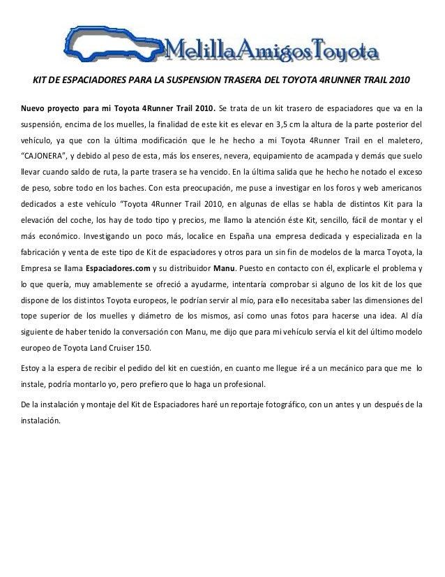 KIT DE ESPACIADORES PARA LA SUSPENSION TRASERA DEL TOYOTA 4RUNNER TRAIL 2010 Nuevo proyecto para mi Toyota 4Runner Trail 2...