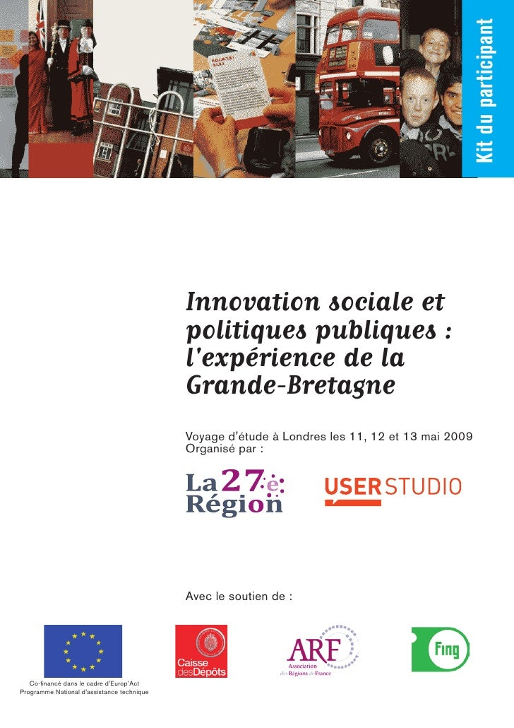 Kit du participant                                             Innovation sociale et                                      ...