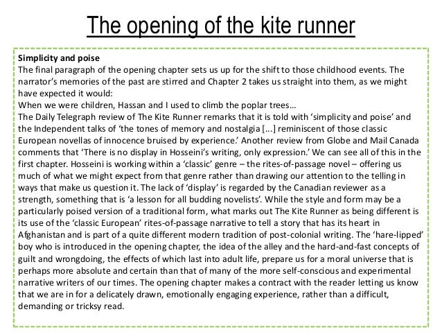 conclusion paragraph to the kite runner Need help on the kite runner 5 - amir's development in the book the kite runner amir in the kite runner experiences many and a conclusion paragraph.