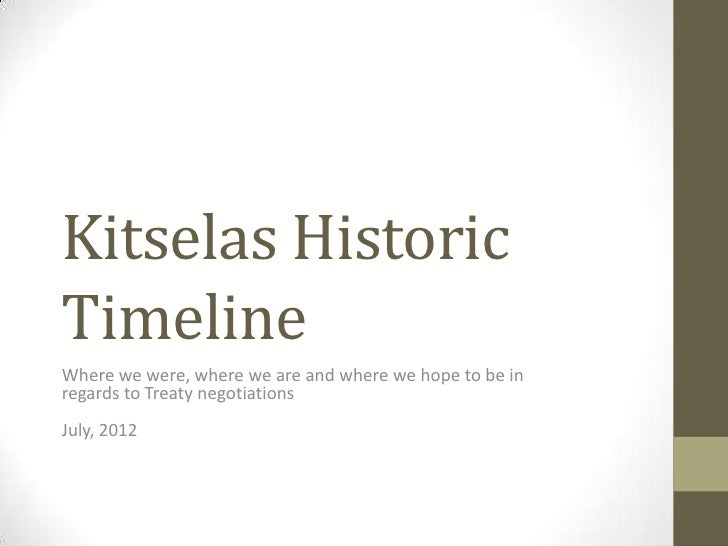 Kitselas HistoricTimelineWhere we were, where we are and where we hope to be inregards to Treaty negotiationsJuly, 2012