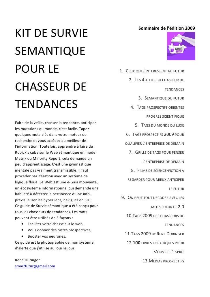 Sommaire de l'édition 2009 KIT DE SURVIE SEMANTIQUE POUR LE                                              1. CEUX QUI S'INT...