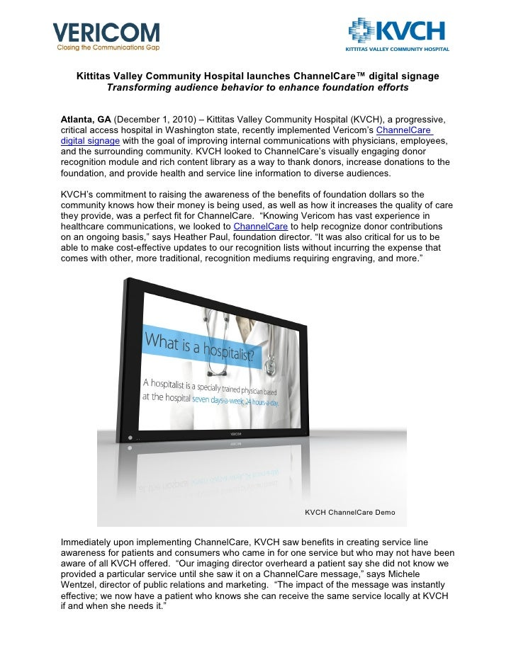 Kittitas Valley Community Hospital launches ChannelCare™ digital signage          Transforming audience behavior to enhanc...