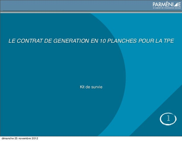 LE CONTRAT DE GENERATION EN 10 PLANCHES POUR LA TPE                            Kit de survie                              ...
