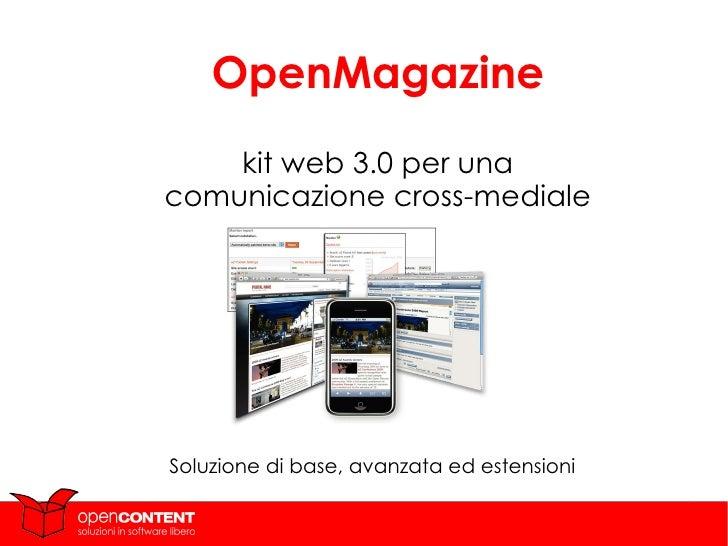Soluzione di base, avanzata ed estensioni OpenMagazine kit web 3.0 per una comunicazione cross-mediale