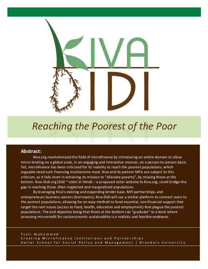 Kiva-Didi: Reaching the Poorest of the Poor