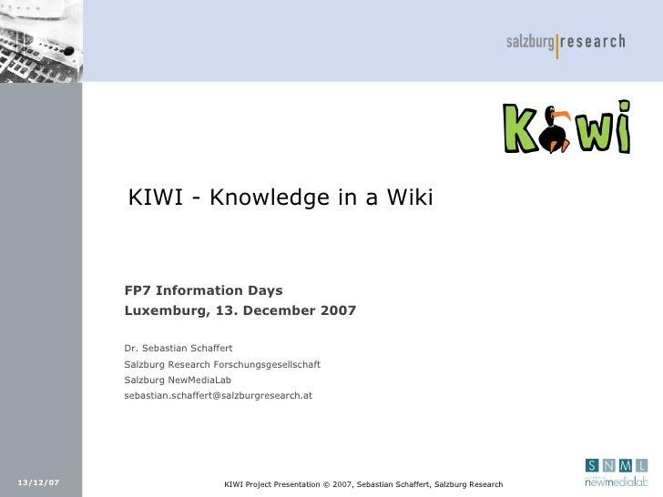 Presentation for FP7 Information Days 2007-12-13