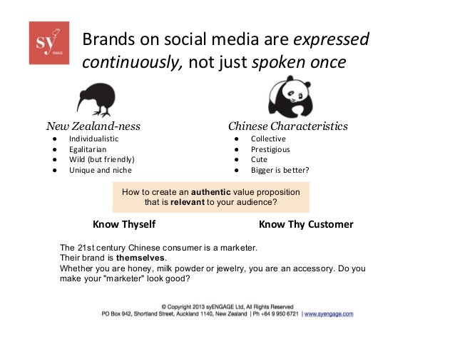 Brands on social media are expressed continuously, not just spoken once  New Zealand-ness ● ● ● ●  Individualistic Egalita...