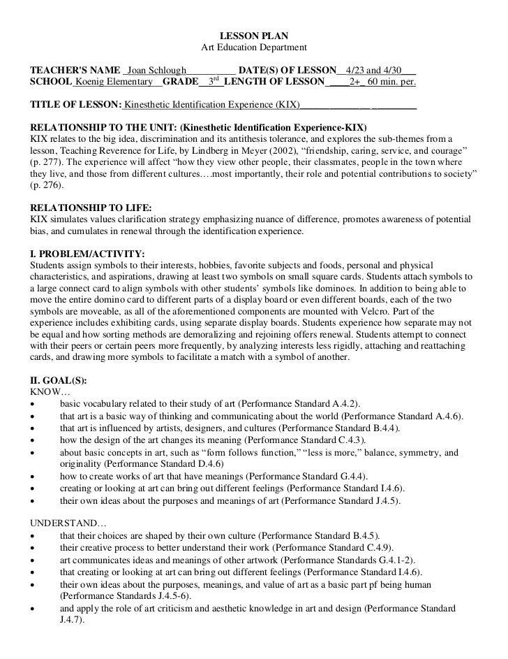 LESSON PLAN                                           Art Education DepartmentTEACHERS NAME _Joan Schlough__________ DATE(...