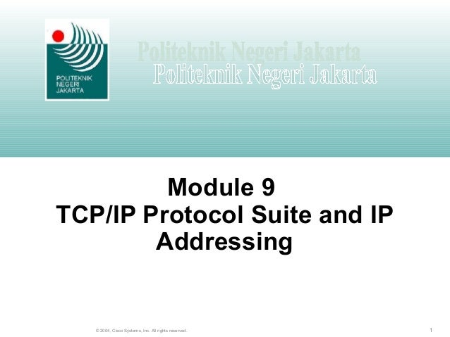 1© 2004, Cisco Systems, Inc. All rights reserved. Module 9 TCP/IP Protocol Suite and IP Addressing