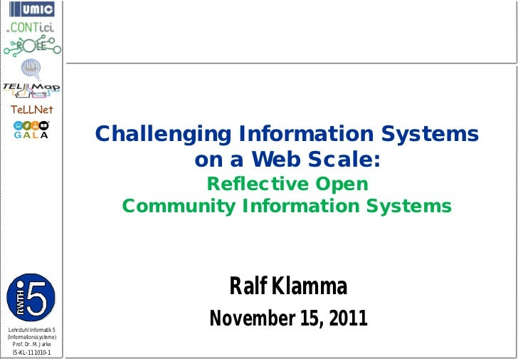 Challenging Information Systems on a Web-Scale: Responsive Open Community Information Systems