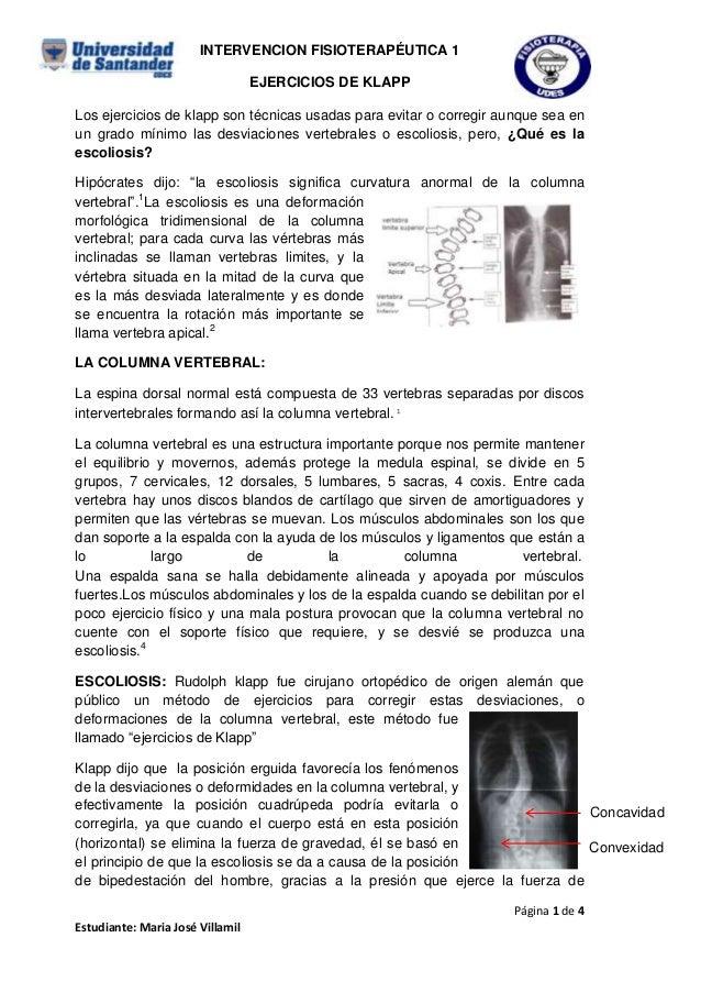 INTERVENCION FISIOTERAPÉUTICA 1 EJERCICIOS DE KLAPP Los ejercicios de klapp son técnicas usadas para evitar o corregir aun...