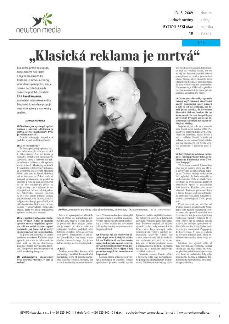 Klasická reklama je mrtvá (Lidové noviny, 2009)